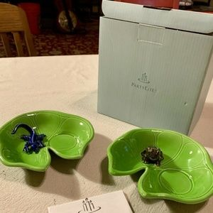 PartyLite Lily Pad Frog & Lizard Candle Holder